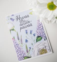 Äitienpäivän syreenit. 2-osainen kortti