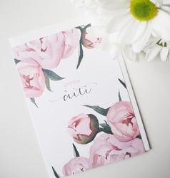Äitienpäivän pionit. 2-osainen kortti