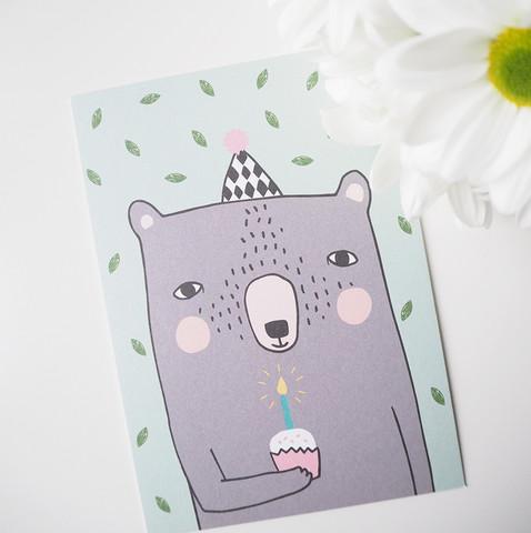 Nallen synttärit-postikortti