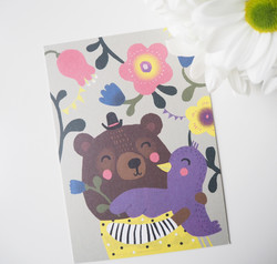 Nalle ja lintu-postikortti