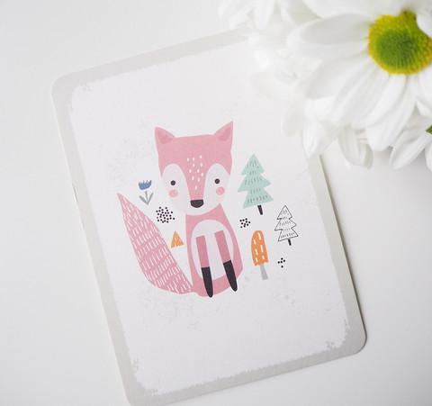 Roosa kettu-postikortti
