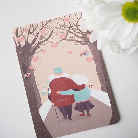 Ihana pariskunta-postikortti