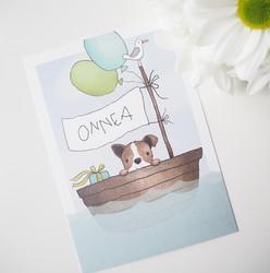 Koira veneessä-postikortti