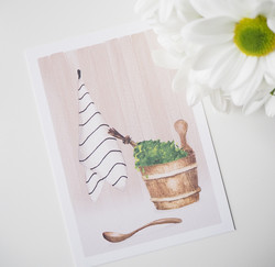 Saunassa-postikortti