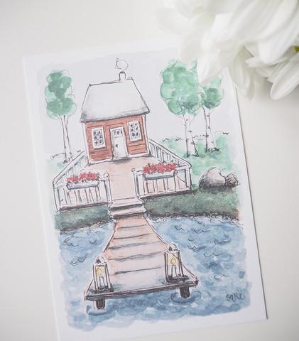 Sauna rannalla-postikortti