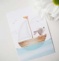 Koira merellä-postikortti