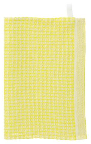 Lapuan Kankureiden Maija tiskirätti, valko-kirkas keltainen