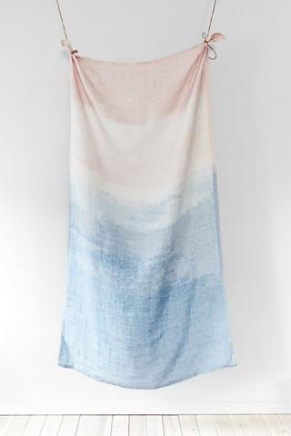 Lapuan Kankureiden Saari jättipyyhe,100% pellavaa, roosa-sininen