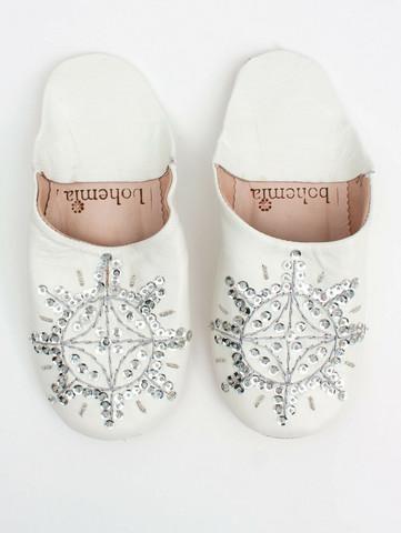 Marokkolaiset tossut, sävy white & silver. Koko S