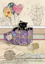 Gift kitty 2-osainen kortti