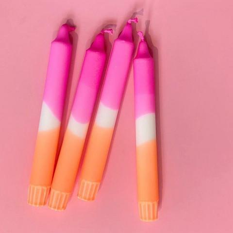 Dip dye-kruunukynttilä, Nro 4. Pinkki-Oranssi