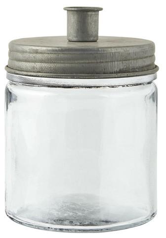 Kynttilänjalka-lasipurkki, metallikannella