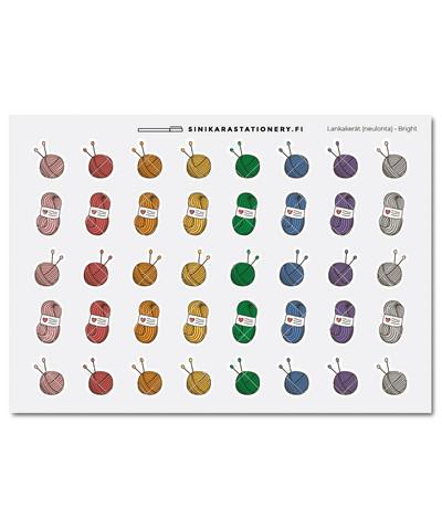 Neulonta lankakerät-kalenteritarrat, Bright