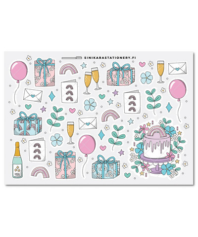 Juhlat-kalenteritarrat, pastel