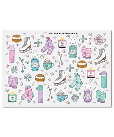 Talvi-kalenteritarrat, pastel