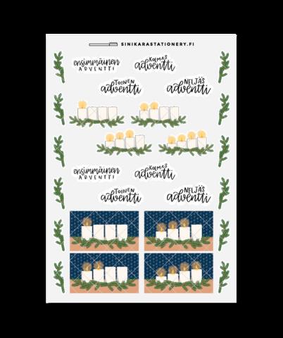 Adventtikynttilät-kalenteritarrat