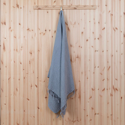 Solmu hamam-pyyhe, vohvelikangasta. Harmaa