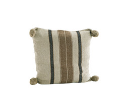 Striped tyynynpäällinen tasseleilla. Beige, brown. 50 x 50 cm. TULOSSA