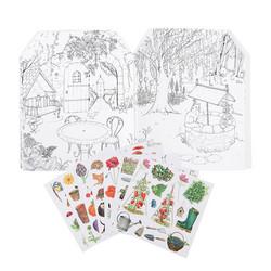 Gardener-värityskirja jossa tarroja