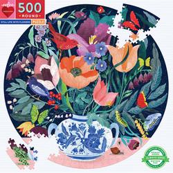 Still life with flowers-pyöreä palapeli, 500 palaa. Ikäsuositus 7+