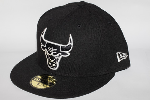 New Era 59Fifty Chicago Bulls Black White, Koko 7 1/2