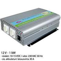 Invertteri 12V 1000W, akkulaturilla 20A. 100-300Ah.