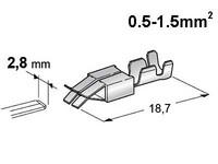 Liitin mm. sensoripistokkeille 2,8mm timer 0,5-1,5mm2