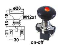 Vetokatkaisin, on-off, 12V, 28mm nuppi, LED punainen, 3x6.3mm liitin, 12mm asennusreikään, mutterilukitus