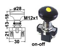 Vetokatkaisin, on-off, 12V, 28mm nuppi, LED keltainen, 3x6.3mm liitin, 12mm asennusreikään, mutterilukitus