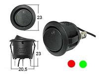 Keinukytkin, on-off-on, 12V, LED punainen / vihreä, 3x4.7mm liitin+maajohto