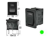 Keinukytkin, on-off, 12V, LED vihreä, 2x4.7/2x2mm liitin
