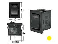 Keinukytkin, on-off, 12V, LED keltainen, 2x4.7/2x2mm liitin