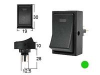 Keinukytkin, on-off, 12V, LED vihreä, 3x6.3mm liitin