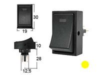 Keinukytkin, on-off, 12V, LED keltainen, 3x6.3mm liitin