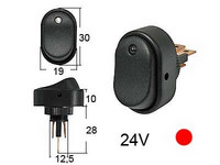 Keinukytkin, on-off, 24V, LED punainen, 3x6.3mm liitin