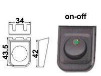 Keinukytkin, on-off, 12V, asennuskehys, LED vihreä, 3x6.3mm liitin