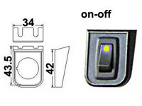 Keinukytkin, on-off, 12V, asennuskehys, LED keltainen, 3x6.3mm liitin