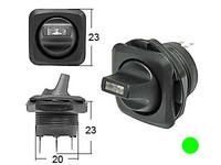 Vipukytkin, on-off, 12V, LED vihreä, 2x4.7/2x2mm liitin