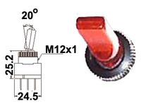 Vipukytkin, on-off, 12V, LED punainen, 3x6.3mm liitin