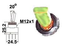 Vipukytkin, on-off, 12V, LED vihreä, 3x6.3mm liitin