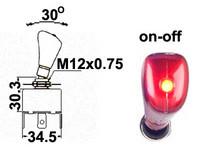Vipukytkin, on-off, 12V, punainen vipu, LED keltainen, 3x6.3mm liitin