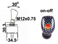Vipukytkin, on-off, 12V, ruudullinen vipu, LED punainen, 3x6.3mm liitin