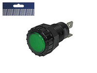 Led-merkkivalo, vihreä, laattaliitimet, 10-30V, 2x6.3mm liitin