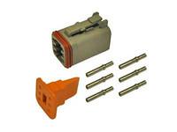 Liitinsarja Deutsch 6-pin. naarasliittimin (0,5-1,5mm2), DT-srj