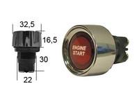 Painonappi, palauttava, 12V, LED, kromikehys, ENGINE START tekstillä, punainen, 3xruuviliitin
