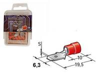 Lattaliitin 6,3mm uros 100kpl punainen