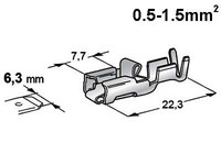 Liitin 6.3mm naaras 0.5-1.5mm2 johdolle