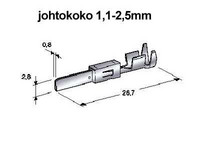 Liitin 2.8mm, uros 1.0-2.5mm2 johdolle