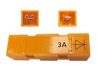 Diodi 3A 6,3mm liittimillä suojakotelossa