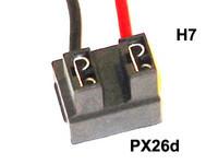 Lampunkanta H7-polttimolle, johdot sivulle, PX26d